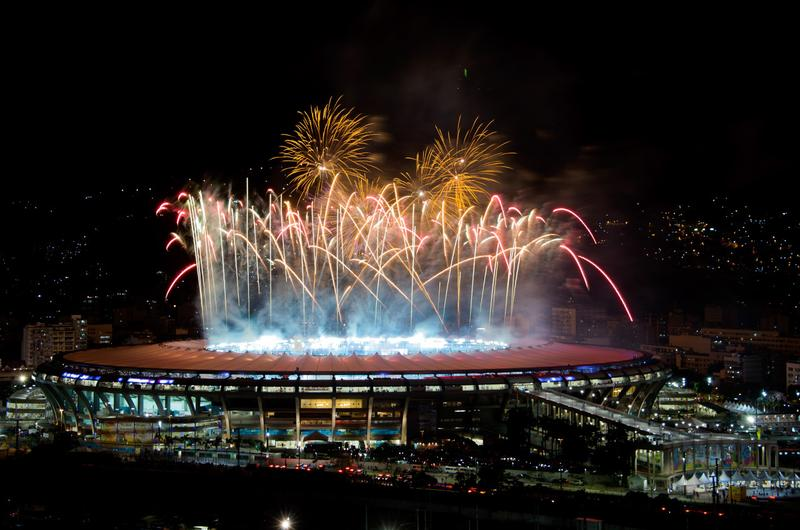 A fireworks display after the 2014 FIFA World Cup Brazil Final between Germany and Argentina at Maracana Stadium on July 13, 2014 in Rio de Janeiro, Brazil. (Buda Mendes/Getty Images)