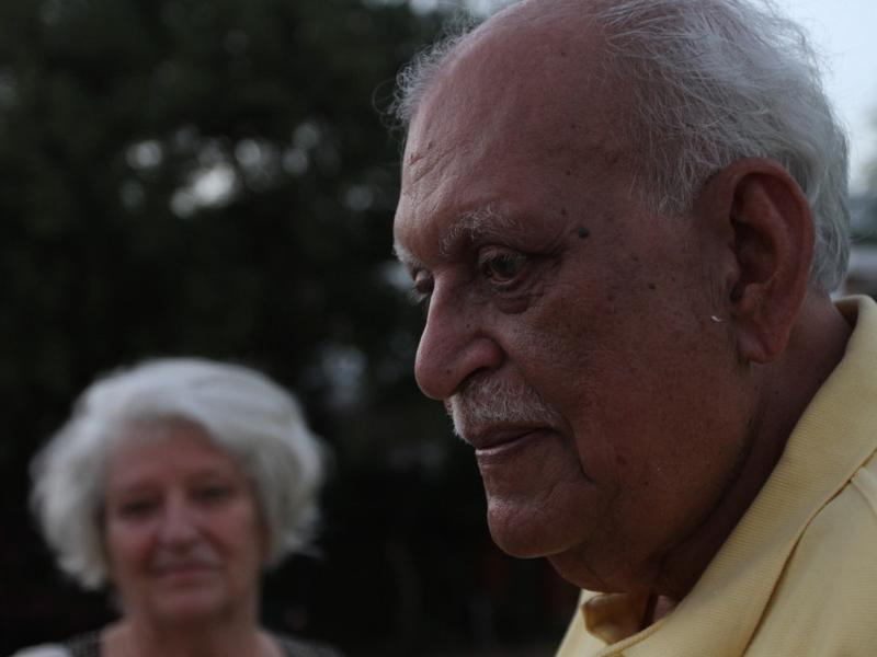 Novelist Jamil Ahmad. His wife, Helga, is in the background.