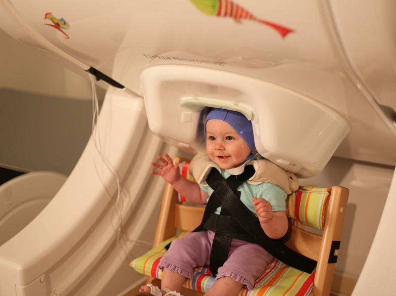 The magnetoencephalograph can record electrical signals from a baby's brain without requiring the child to be perfectly still.