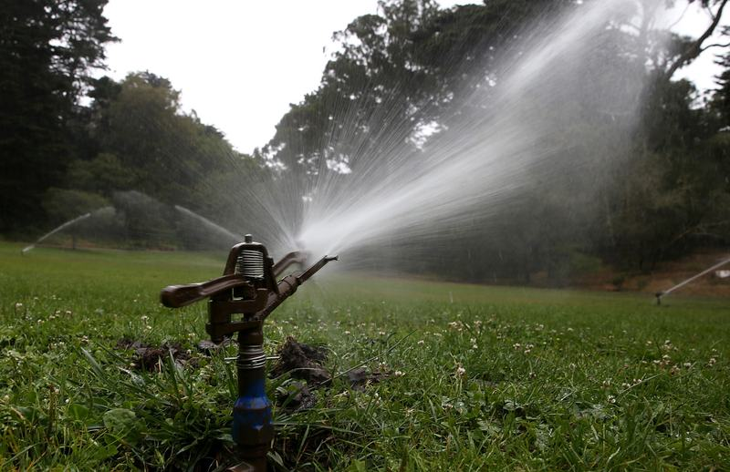 Sprinklers water a lawn in Golden Gate Park on July 15, 2014 in San Francisco, California. (Justin Sullivan/Getty Images)