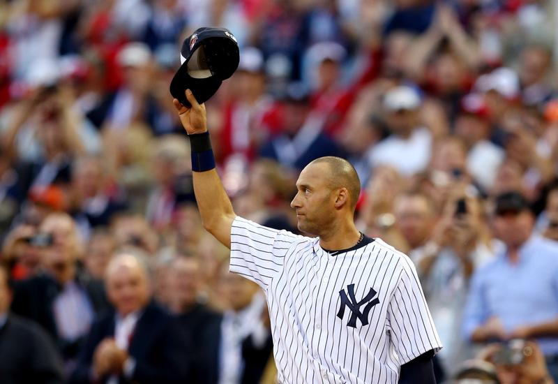 American League All-Star Derek Jeter #2 of the New York Yankees acknowledges the crowd during the 85th MLB All-Star Game at Target Field on July 15, 2014 in Minneapolis, Minnesota. (Elsa/Getty Images)