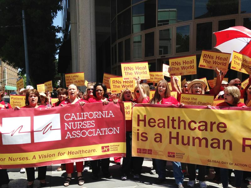 Members of the California Nurses Association say they rallied in Sacramento in May to raise public awareness of their concerns about patient care in California hospitals.<em> </em>