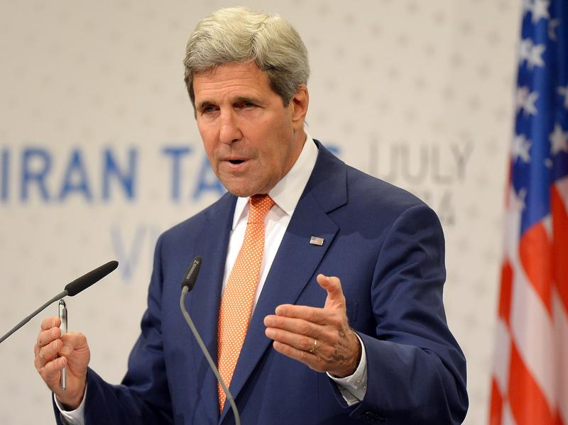 U.S. Secretary of State John Kerry speaks Tuesday during his final press conference after talks over Tehran's nuclear program in Vienna. A deal has not been struck in time for the deadline this Sunday, and negotiations will be extended into November.