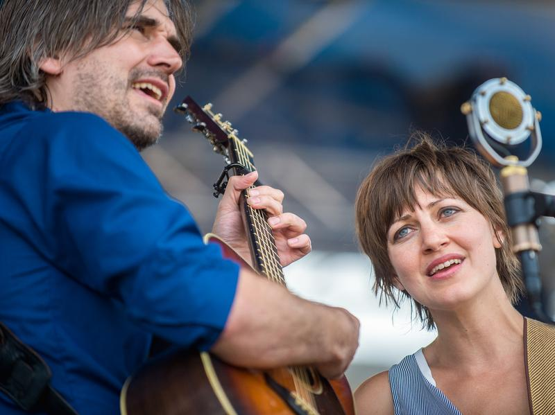 Anais Mitchell (right) and Jefferson Hamer perform at the 2014 Newport Folk Festival.