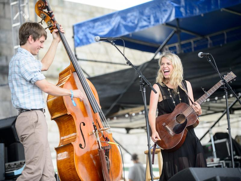 Aoife O'Donovan performs with bassist Paul Kowert at the 2014 Newport Folk Festival.