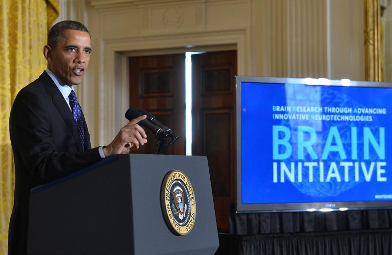 """We still haven't unlocked the mystery of the three pounds of matter between our ears. That knowledge could be — will be — transformative,"" President Obama said in announcing the BRAIN (Brain Research through Advancing Innovative Neurotechnologies) Initiative on April 2, 2013, at the White House. (Jewel Samad/AFP/Getty Images)"
