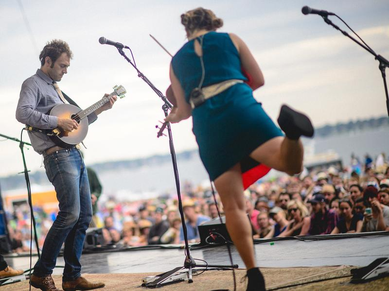 Chris Thile and Sara Watkins of Nickel Creek perform at the 2014 Newport Folk Festival.