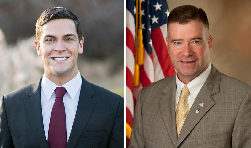 Democrat Sean Eldridge (left) is trying to unseat incumbent Rep. Chris Gibson in New York's 19th congressional district. (Wikimedia Commons)