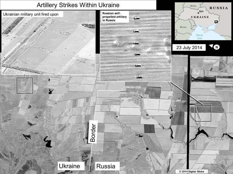 Image released by the U.S. State Department showing what it says is evidence of Russia firing artillery into eastern Ukraine.