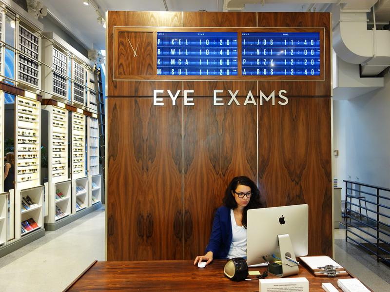 Customers can get a tactile experience trying on glasses at Warby Parker's shop in New York City.