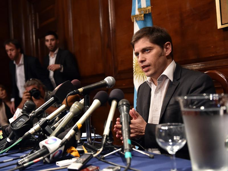 Argentina's Economy Minister Axel Kicillof speaks during a press conference at the Argentina Consulate in New York on Wednesday.