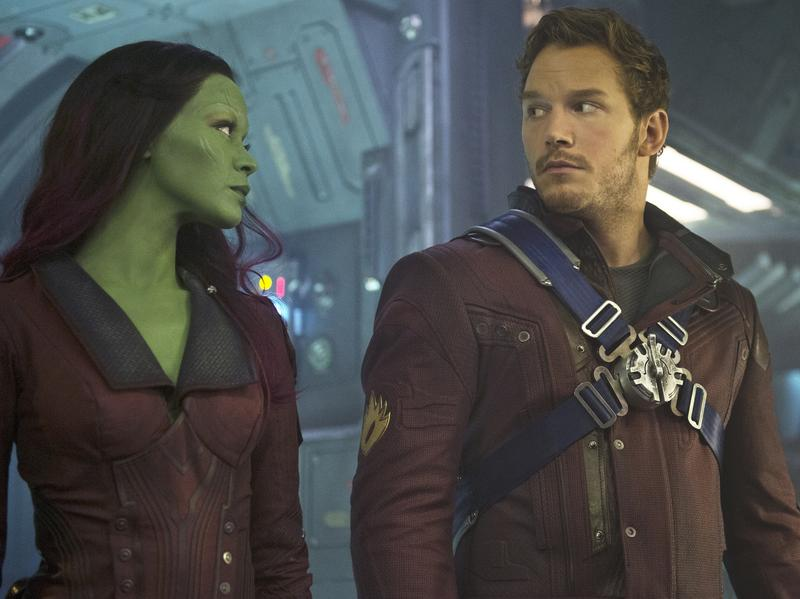 Gamora (Zoe Saldana) and Peter Quill (Chris Pratt) have some adventures together in the terrific new <em>Guardians Of The Galaxy</em>.