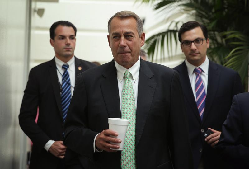 U.S. Speaker of the House Rep. John Boehner (R-OH) arrives at a House Republican Conference meeting August 1 on Capitol Hill in Washington, DC. The House came back on Friday, a day after its scheduled summer recess, trying to finish up a border supplemental spending bill that was pulled from the floor the day before because of a shortage of votes.  (Alex Wong/Getty Images)