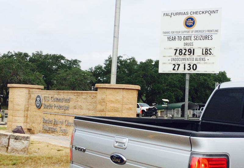 Michael Vickers, co-founder of Texas Border Volunteers, sent us this photo of a checkpoint near his home, where the tally of immigrants apprehended at the border is posted on a sign. (Courtesy of Michael Vickers)
