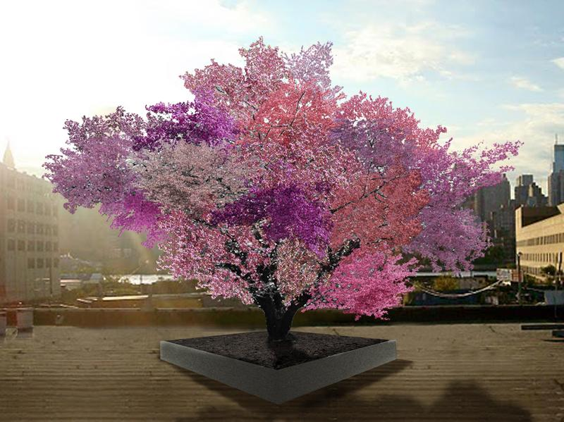 "Sam Van Aken's grafted fruit trees are still quite young, but this rendering shows what he expects the ""Tree of 40 Fruits"" to look like in springtime in a few years."