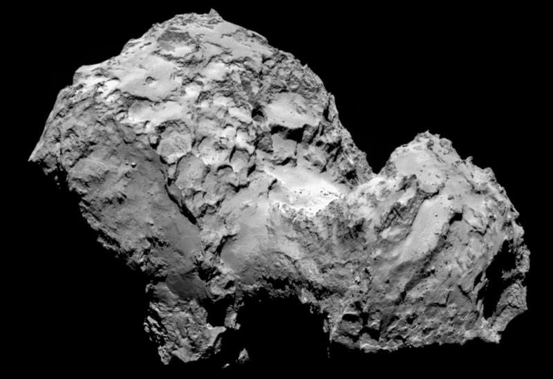 Comet 67P/Churyumov-Gerasimenko is pictured from a distance of 177 miles on Aug. 3, 2014, by Rosetta's OSIRIS narrow-angle camera. (ESA/Rosetta/MPS for OSIRIS Team via AP)