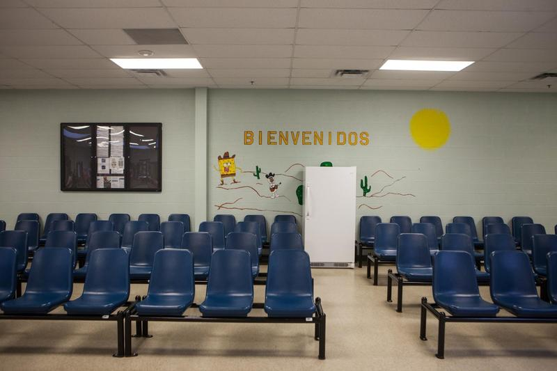 Federal officials opened the doors to give a tour of the newly renovated detention facility in Karnes City, Texas, designed to house mothers and children apprehended at the border. (Ilana Panich-Linsman/KUT)