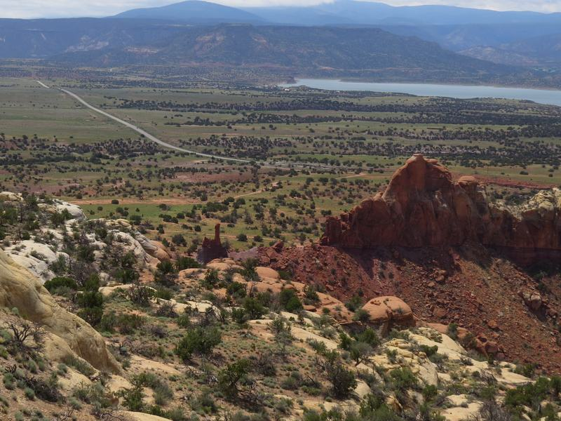 Thanks to unusually heavy monsoon rains, mesa land east of Ghost Ranch in New Mexico has erupted into vibrant green life — an unusual sight in this region.