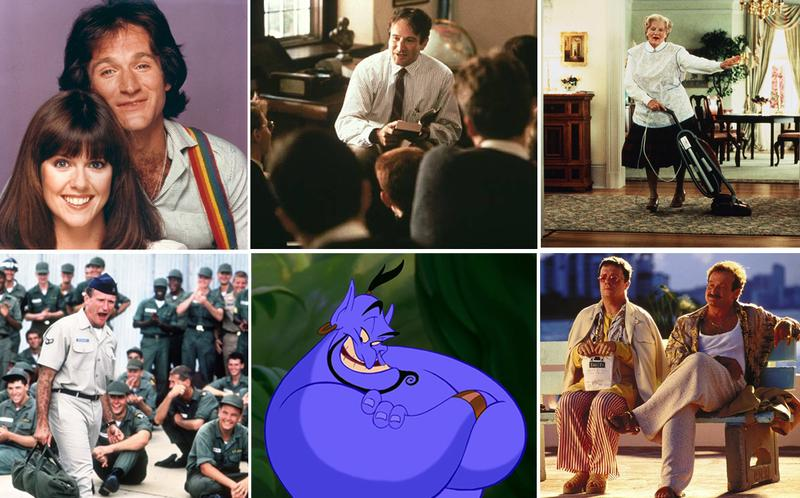 "Robin Williams is known for many roles, including (clockwise from top left): ""Mork & Mindy,"" ""Dead Poets Society,"" ""Mrs. Doubtfire,"" ""The Birdcage,"" ""Aladdin"" and ""Good Morning, Vietnam."""