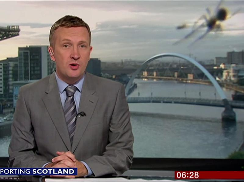 A spider made a surprise appearance during a live update from BBC Scotland's Graham Stewart Wednesday.