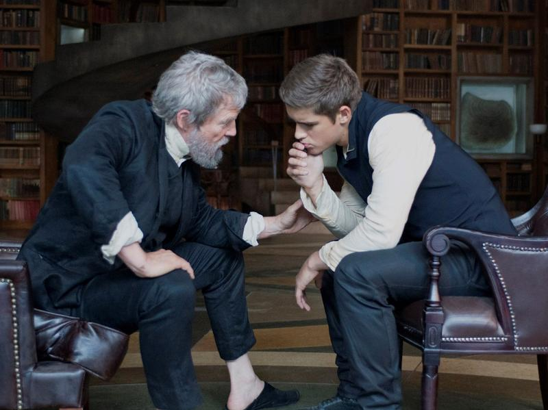 Jeff Bridges (left) produces and stars as the title character in <em>The Giver</em>, alongside Australian actor Brenton Thwaites, who plays Jonas, his young apprentice. <em>The Giver </em>is the first film rendition of the popular 1993 young adult novel by Lois Lowry.