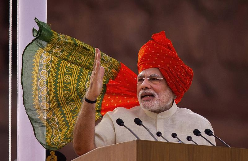 Indian Prime Minister Narendra Modi addresses the nation on the country's Independence Day in New Delhi, India, Friday, Aug. 15, 2014. India celebrates its 1947 independence from British colonial rule on Aug. 15. (Saurabh Das/AP)