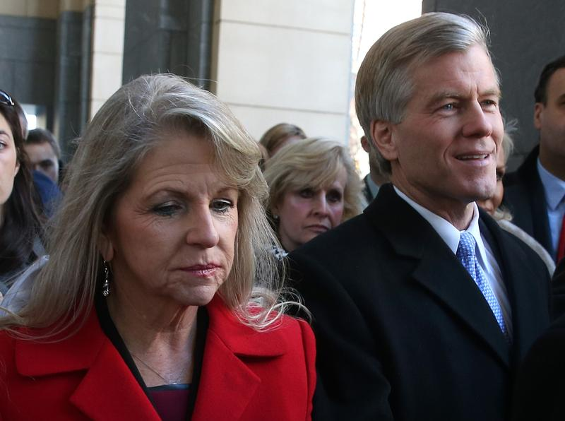Former Virginia Gov. Bob McDonnell and his wife, Maureen, leave the U.S. District Court for the Eastern District of Virginia, on January 24, 2014 in Richmond, Virginia. McDonnell and his wife Maureen pleaded not guilty to a 14 count criminal indictment from federal grand jury charging that the couple violated federal corruption laws by using their positions to benefit a wealthy businessman who gave them gifts and loans. (Mark Wilson/Getty Images)