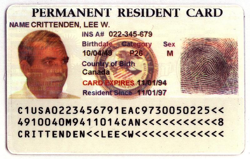 "An example of the ""Green Card"" issued by the Immigration and Naturalization Service is seen in an undated handout photo. (Khue Bui/AP)"
