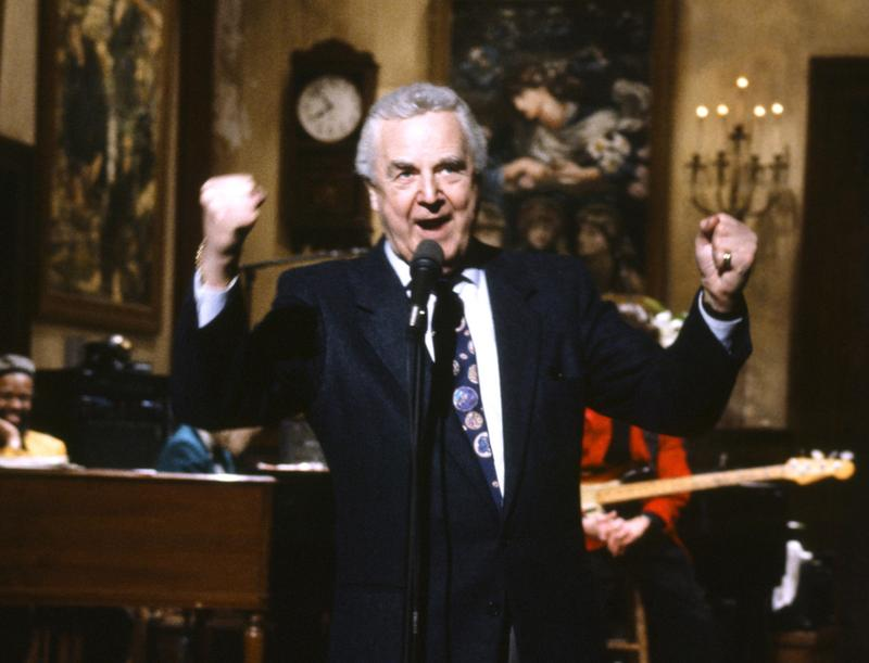 "This March 14, 1992 photo provided by NBC shows announcer Don Pardo on the set of ""Saturday Night Live."" Pardo died Monday, Aug. 18, 2014 in Arizona at the age of 96. (Al Levine/NBC via AP)"