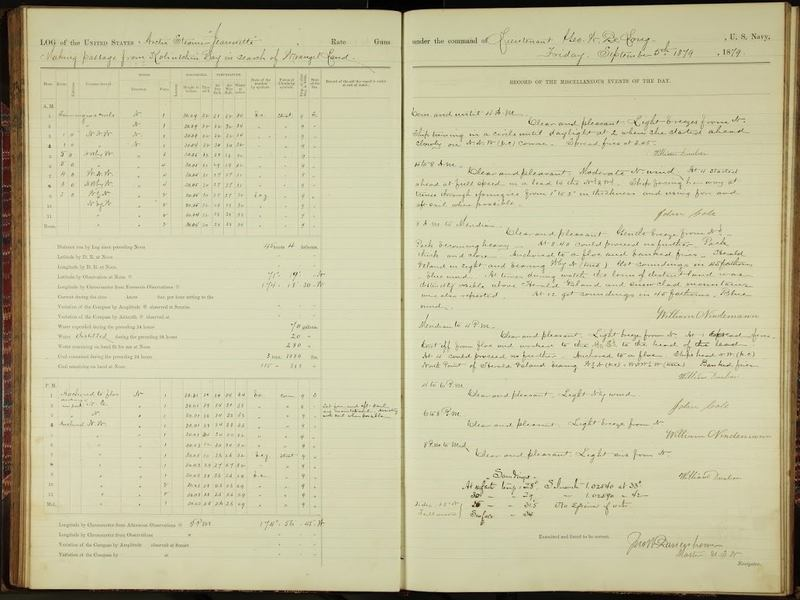 Logbook for the Jeannette, a ship that became trapped in ice, dated Sept. 5, 1879.
