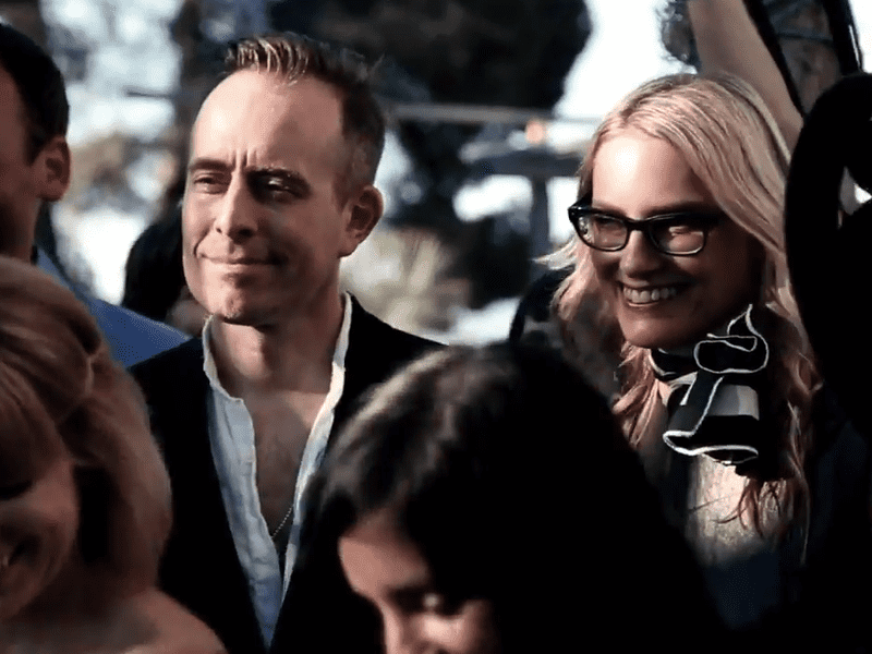 "Ted Leo and Aimee Mann as The Both, in a scene from their new video for the song ""Volunteers Of America."""