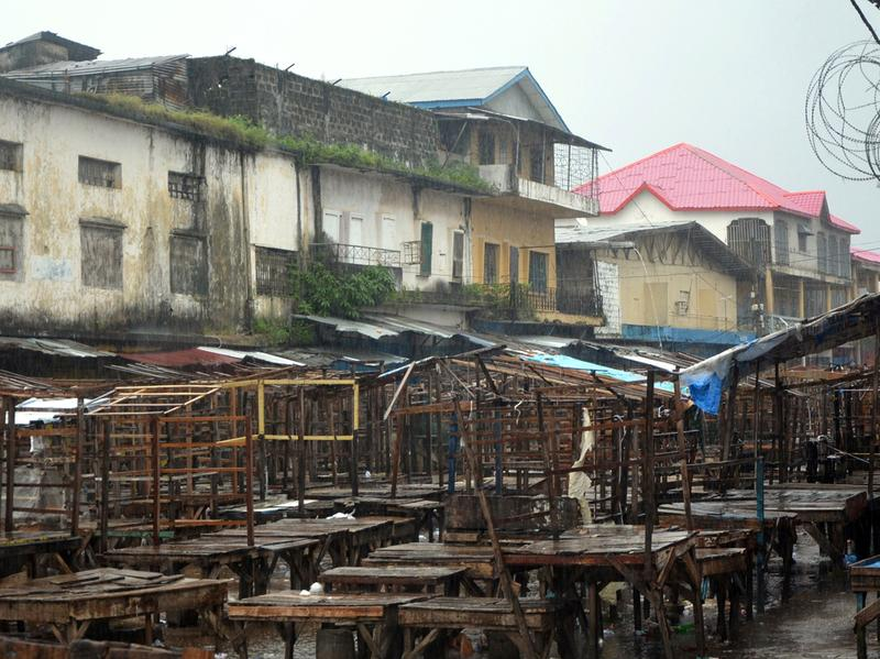 A street market remains empty in Monrovia's West Point slum as part of quarantine measures to contain the spread of Ebola in Liberia.