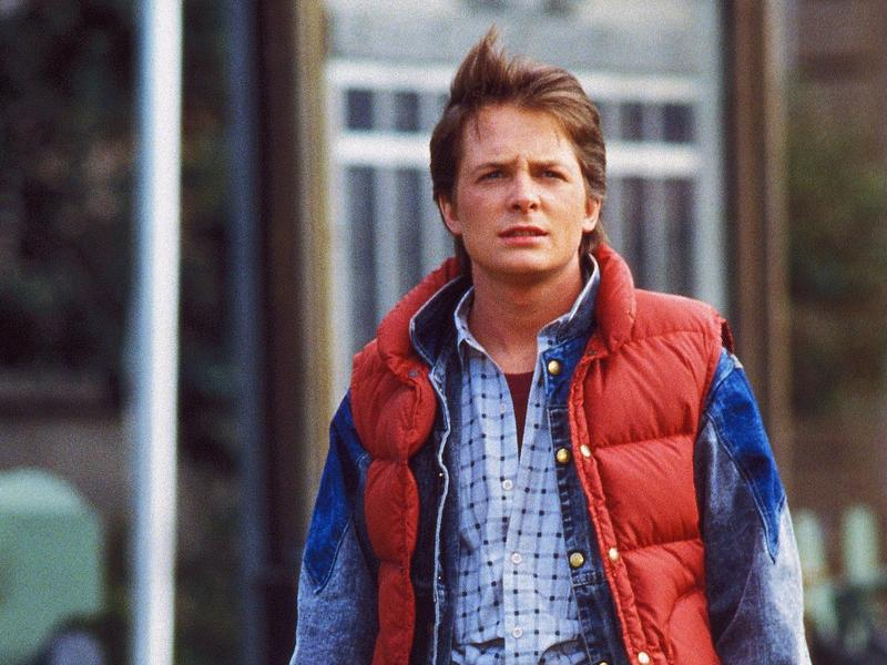 Michael J. Fox and his vest in the 1985 movie <em>Back to the Future.</em>