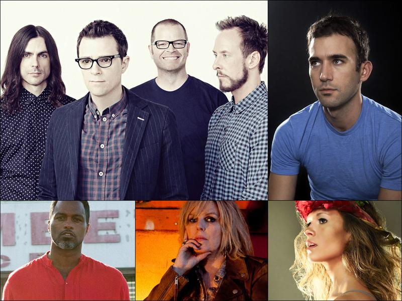 Clockwise from upper left: Weezer, Sufjan Stevens, Lia Ices, Lucinda Williams, Shabazz Palaces