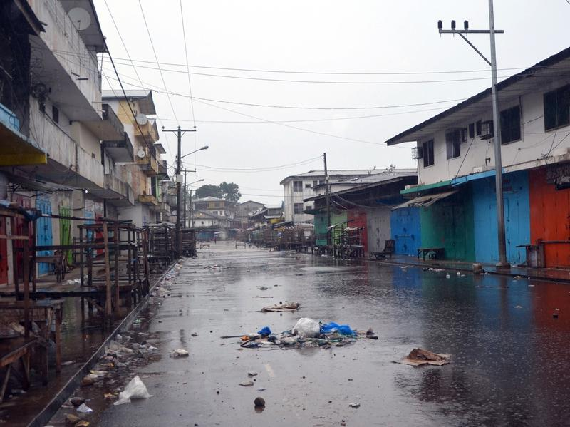 Shops are closed in Monrovia's West Point neighborhood as part of a quarantine to contain the spread of Ebola.