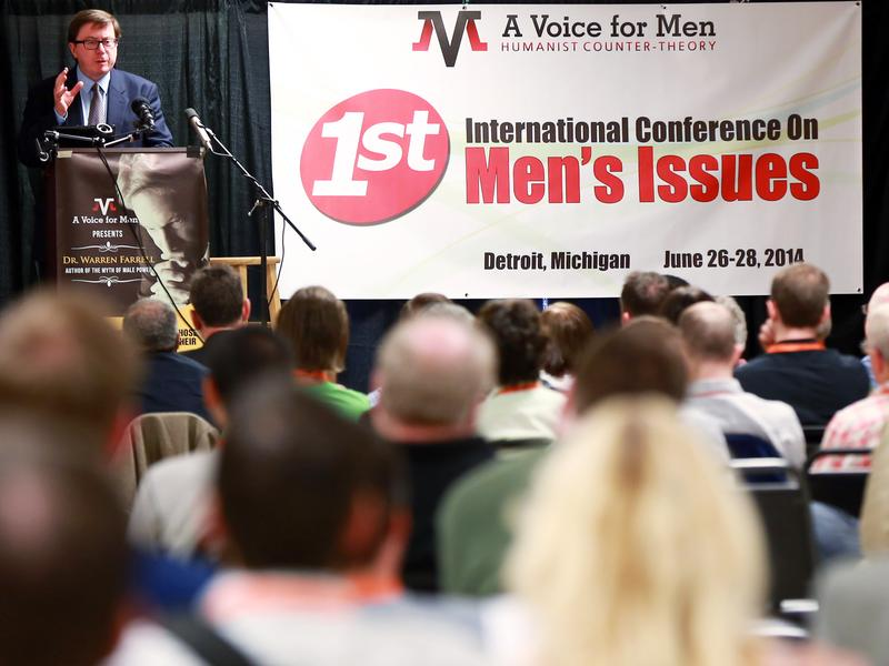 "Mike Buchanan gives his presentation, ""Let's Get Political,"" at the International Conference on Men's Issues, held in June near Detroit. Buchanan founded a political party in the U.K., Justice for Men & Boys, in 2013."