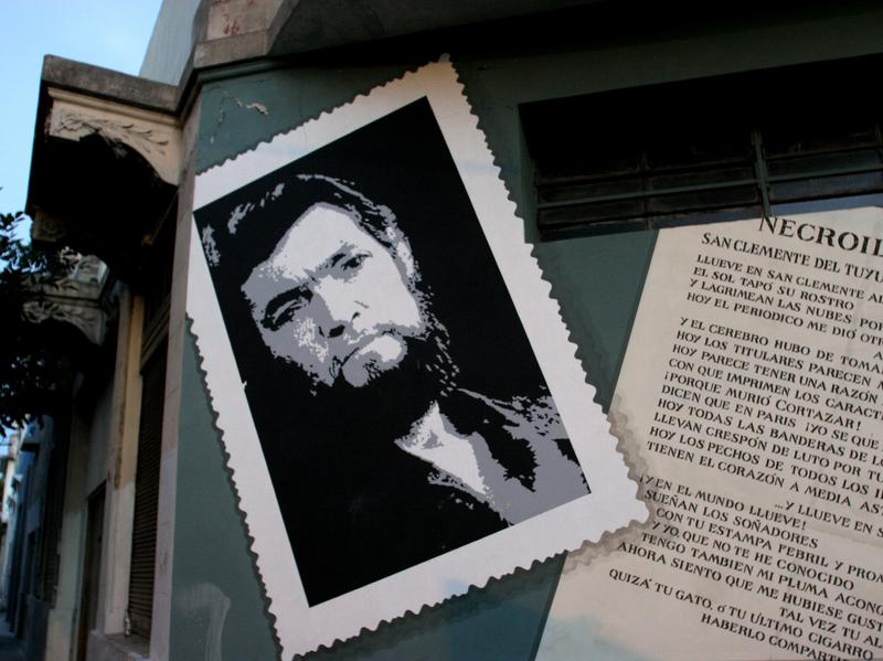 An informal monument to Julio Cortázar on the streets of Buenos Aires.