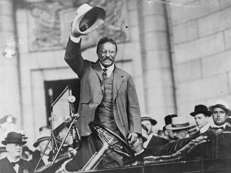 In this undated photo, Theodore Roosevelt waves to a crowd.