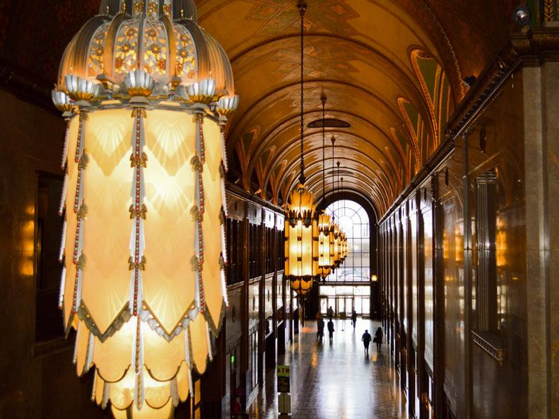 detroits iconic fisher building has an ornate interior full of marble bronze and art deco
