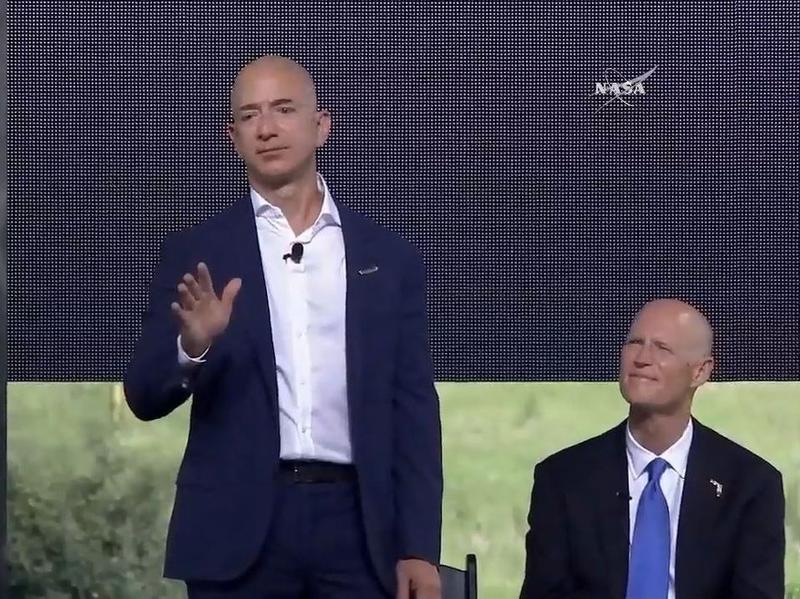 """Jeff Bezos says the launch pads at Cape Canaveral have been dormant for """"too long — we can't wait to fix that."""""""
