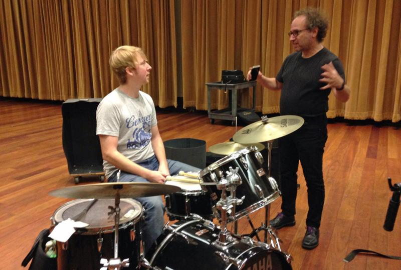 Composer Tod Machover works with a Detroit Symphony Orchestra percussionist on what the beat of Detroit sounds like. (Emily Fox/Michigan Radio)