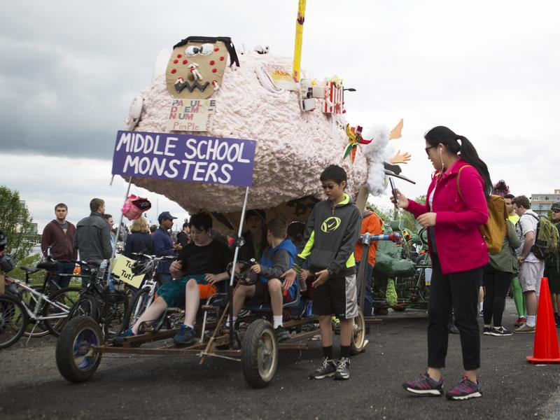 The Arbutus Middle School Kinetic Club rests during the Kinetic Sculpture Race in Baltimore. The students created and raced a foot-powered sculpture in a 15-mile race across downtown Baltimore on May 7.