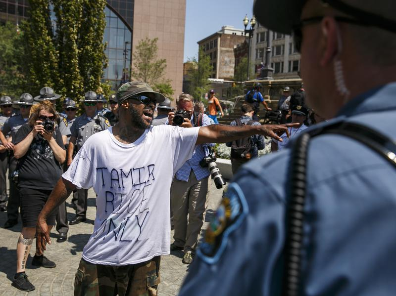 Stevedore Crawford Jr., 53, shouts at police officers during the 2016 Republican National Convention in Cleveland.