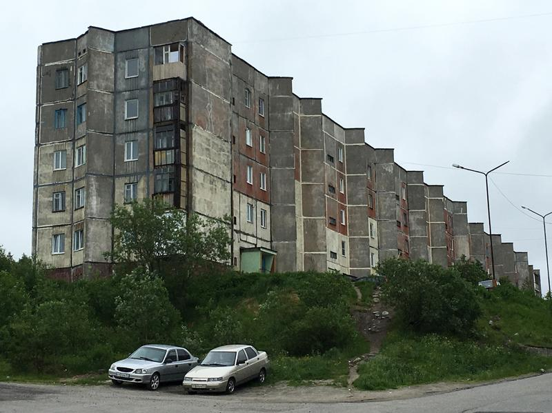 A typical apartment building in Roslyakovo. Russian President Vladimir Putin signed papers ordering the town to open its doors to the world on Jan. 1, 2015.
