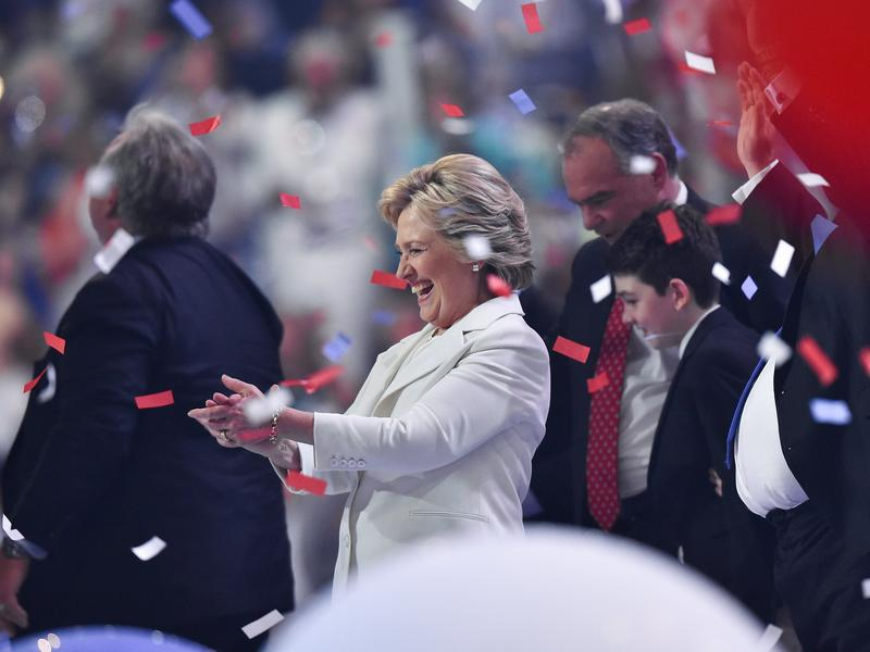 Balloons descend as Hillary Clinton celebrates on the final night of the Democratic National Convention.