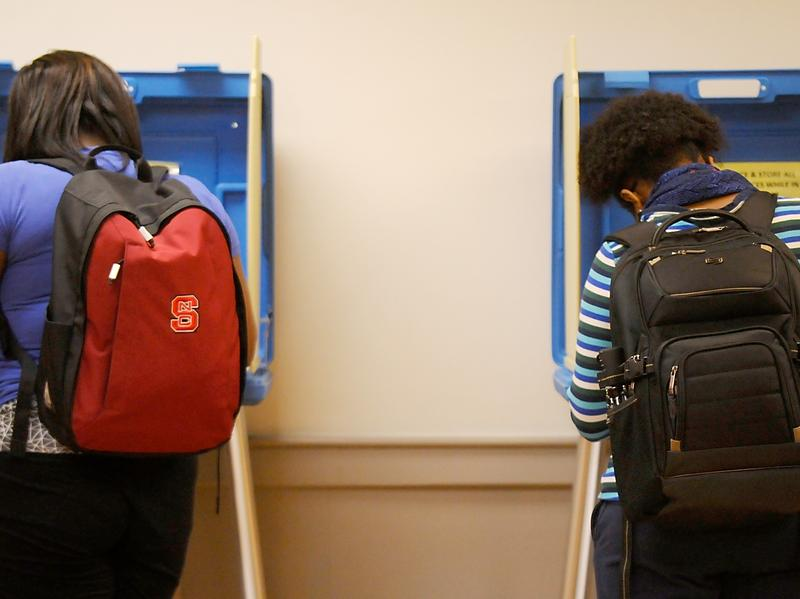 North Carolina State University students vote in the primaries at Pullen Community Center on March 15 in Raleigh, N.C.