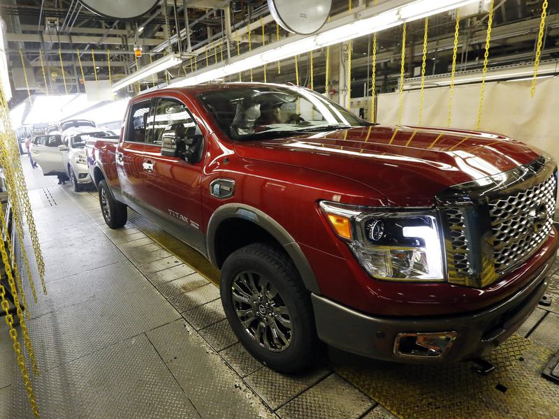A Nissan Titan rolls off the line in Canton, Miss., in April. Truck and SUV sales were strong again in July.