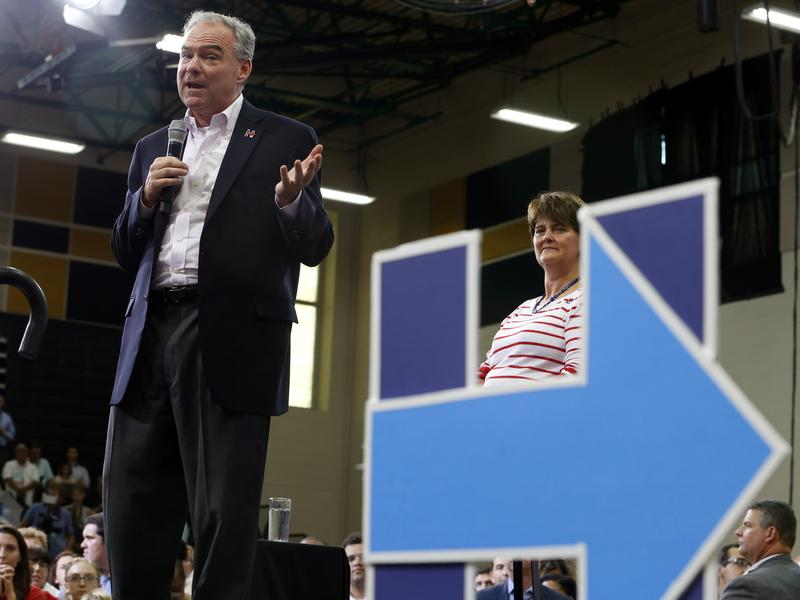 Democratic vice presidential candidate Sen. Tim Kaine gestures during a rally in Richmond, Va., Monday.