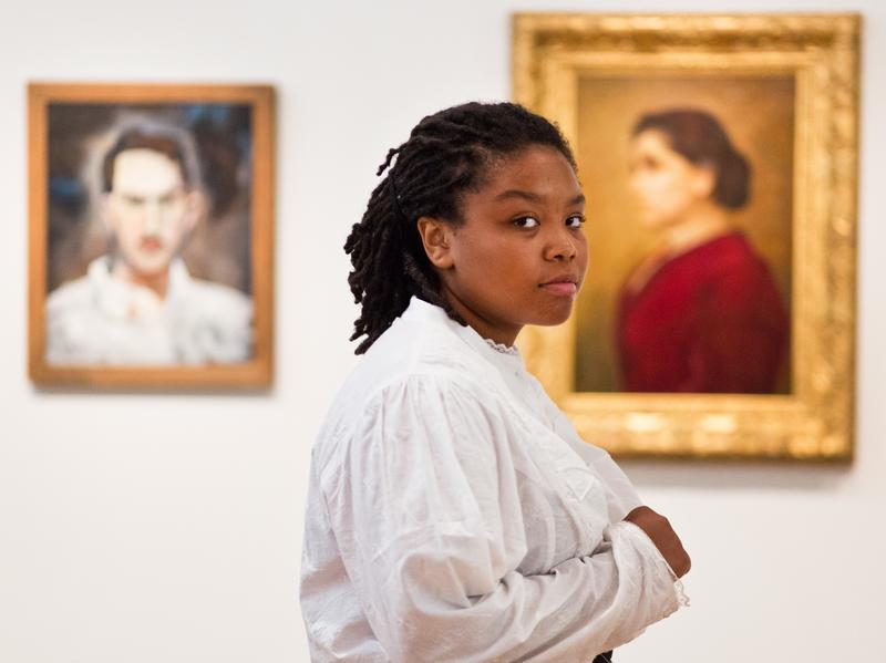 Daja Moorer performs an original monologue acting as the Hull House founder Jane Addams at the Smithsonian National Portrait Gallery<em>.</em> Moorer chose to portray Jane Addams for <em>Portraits Alive! </em>because of the mysterious nature of the portrait.
