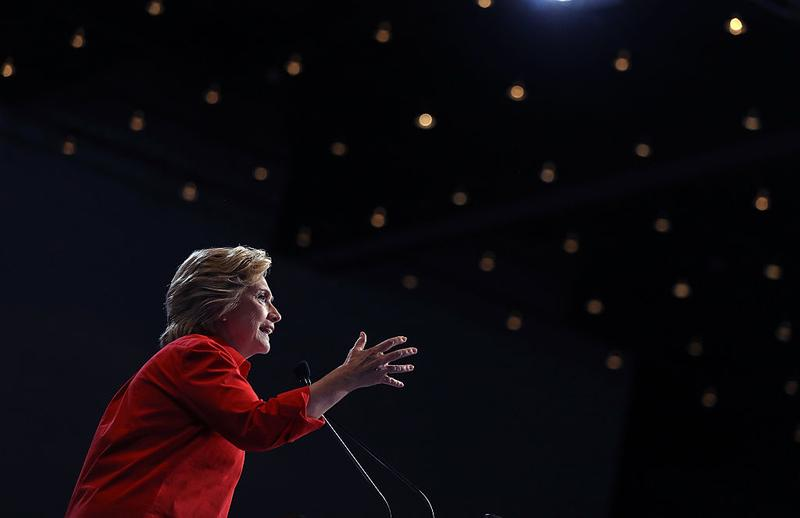 Democratic presidential nominee Hillary Clinton speaks during a campaign rally at the David L. Lawrence Convention Center on July 30, 2016 in Pittsburgh, Pennsylvania. (Justin Sullivan/Getty Images)